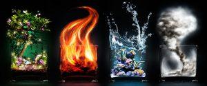 4 стихии: вода, огонь, воздух и земля